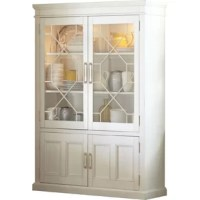 Put fine china, framed family photos, and artful accents proudly on display in this clean-lined cabinet. Crafted from solid wood in a neutral finish, this piece features two clear glass doors with fretwork details up top that open to reveal adjustable shelves with 120 W lighting to help draw eyes to items inside. Two solid lower doors provide a home for other odds and end you'd prefer to tuck out of sight.