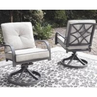 Sumptuously cushioned and richly styled, this Swivel Patio Chair with Cushions takes an exciting turn with its trendy, textural gray finish that's decidedly modern. Made of sturdy, rust-proof aluminum, this pair of outdoor swivel chairs also includes weather-friendly cushions wrapped in high-performing Nuvella® fabric that's as plush as it is practical.