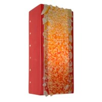 This rectangular sconce features a rocky and textured surface created by the fusing of hundreds of colored glass bits to a larger pane of glass. Light shines through openings at the top, the bottom, the circular perforations along the back edge of both sides of the fixture and organically illuminates the glassy collage of colors. Handmade to World Menagerie's exacting standards, using a kiln-fired ceramic base and recycled window glass from local sources.
