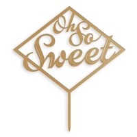 One of the sweetest parts of your wedding day is when you get to enjoy that delicious first slice of cake, and this Oh so Sweet Cake Topper product will make that moment just that much sweeter. Attached is an acrylic food safe stake that when inserted into the top of your cake will make it look as if it were standing all by itself.