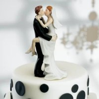 Adding a little fun with your romance, this Kissing Couple Cake Topper product shares their wedding kiss on top of the cake. In stylish black and white the cake top goes with any color theme.