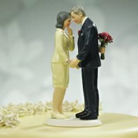 Shared love remains a reason to celebrate regardless of age. This Mature Couple Cake Topper product can be used to commemorate a long and successful life together at an Anniversary or can add distinctive style when a couple is married a little farther along life's path. Hand-painted porcelain.