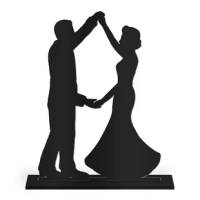 This Dancing Silhouette Cake Topper product is a sweet way to express your affection for one another on your wedding day. Complete with a keepsake stand, simply place atop your cake, then display on a shelf, mantel or desk after the big day as a sweet memento from your best day ever.