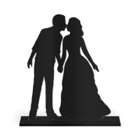 This Kiss Silhouette Cake Topper product is a sweet way to express your affection for one another on your wedding day. Complete with a keepsake stand, simply place atop your cake, then display on a shelf, mantel or desk after the big day as a sweet memento from your best day ever.