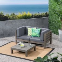 Give your guests a five-star experience whenever they stop by your place for a good time - this 3 Piece Teak Sofa Seating Group with Cushions for the porch, patio, or deck comes included with a stylish square coffee table, perfect to share food or drinks over. Each item in this chic assemblage supports you from below with a solid, slatted acacia wood frame and boasts thick outdoor cushions comfortable enough to socialize on all night long. Configure the seating components around your current...