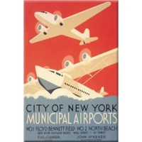 Travel and Leisure during the Heyday of Commercial Air Travel when flying was exciting and foreign locations exotic. This poster was created by the WPA Federal Art Project in New York City to promote New York's municipal airports, circa 1937. 'City of New York Municipal Airports. No. 1 Floyd Bennett Field. No. 2 North Beach. East River Seaplane bases, Wall Street and 31st Street. F.H. LaGuardia, Mayor. John McKenzie, Commissioner of Docks.