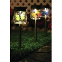 This Butterfly Jar Solar Powered LED Pathway Light Pack can stake anywhere outside that gets direct sunlight, the solar panel collects sunlight to charge the battery during the day automatically turns on at dusk for up to 8 hours of nighttime illumination.