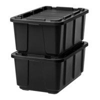 Take toughness to another level. This heavy duty Utility Tough Plastic Storage Tote made of durable plastic help keep contents safe and secure. Plastic boxes hold up to 27 gallons, offering ample storage space inside. Uniquely designed lock holes in the lid and rim make it easy to secure the lid in place with a padlock or with a bungee cord, letting you add an extra level of safety to your plastic storage unit. The grooves in the lid make it easy to secure straps or bungee cords, letting you...
