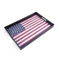 The perfect way to celebrate your patriotism on holidays such as Independence Day or Memorial Day, Plastic American Flags Serving Tray is a convenient accessory for bringing drinks and bowls of food to the dinner table or picnic table in fewer trips. The high sides ensure everything stays on the tray, and features handle cutouts for easy carrying.