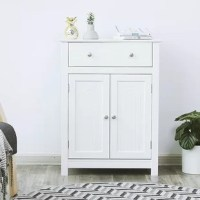 This cabinet looks elegant and attractive in country home style, and it serves not only as a piece of furniture but also as a decoration in the home. The door can swivel 180° and is equipped with a chrome-plated metal handle, which makes handling easier. The hidden storage space behind the door can protect your bathroom essentials from dust and water and an adjustable shelf.