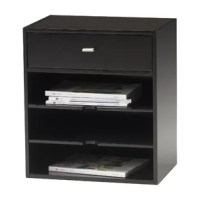 The Ungar 1-Drawer Vertical Filing Cabinet have wood doors. Optional tasklights are available. The clearance between the work surface and the bottom shelf is 20.25