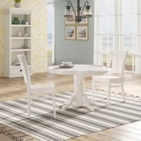 Create a compelling and cohesive aesthetic in your ensemble with this three-piece bistro set – which includes two chairs and one table. Crafted from rubberwood, its round table is supported by a pedestal base, giving it a traditional feel. Two chairs with slatted backs round out this ensemble, and make it the perfect small set for two. Plus, this entire set comes awash in a neutral finish, allowing it to blend effortlessly with your existing color scheme.