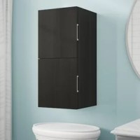 Don't sacrifice style when adding storage space to your ensemble! Whether you're reorganizing the laundry room or extending the capabilities of your bathroom vanity, this wall-mounted cabinet is a must-have. Crafted from solid and manufactured wood, its frame features a clean-lined silhouette and a neutral solid finish for versatility. , it includes two cabinets for keeping everything from folded towels to detergent.