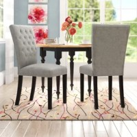 Dress up your dining room for upscale dinner parties and festive family feasts alike with this stylish side chair. Foam padding lends comfort to the seat, which is wrapped in linen upholstery with button tufts and a solid hue. Arrives in a set of two.