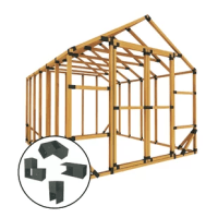 Featured here is our 10X12 Storage Shed Kit. Our E-Z Frame Brackets make it easy for anyone to assemble a structure in less than a few hours.   No angle cuts necessary! Our brackets take the guesswork out of figuring out complicated cuts. Screw it together and you are ready to go!  Afraid to use a saw? Most local lumberyards will cut your lumber for you - remember to bring your lumber cut list with you when you shop! Cover with your choice of finishing materials and step back and admire your...