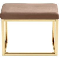 Give your dressing table a touch of glam with the Giselle vanity stool. Its comfortable cushion is wrapped in velvet that's so luxurious, you'll feel spoiled just sitting on it. This piece also features shiny gold legs for a bright, lustrous look.