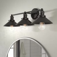 Brighten up the bathroom in modern farmhouse style with this three-light vanity light. Crafted of metal in an oil-rubbed bronze finish, this fixture features a raised round backplate complete with decorative screw caps and one horizontal rod arm. Affixed to industrial-style sockets by screw-on collars, a trio of matching metal cone shades ensconce 40 W CFL ST58 bulbs (not included) to direct bright light downward and outward throughout your space.