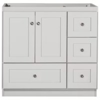 Offered in a dewy morning finish, this shaker vanity is a solid value with attractive style, attention to detail and quality workmanship. Every one of the vanities maximizes usable storage space and has a unique drawer under the doors. Classy satin nickel finish knobs are solid cast metal and already installed. With quality durable hardware, doors and drawers close smoothly and keep snugly closed, plus are easily adjusted for exact door and drawer alignment. Vanities, drawer banks, medicine...