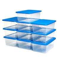 Keep items neatly stored and organized with these Snaplock® 6 Quart Clear Storage Containers, Set of 10. They are ideal to use for holding a variety of things like craft materials, seasonal supplies, and other personal items. These clear storage boxes have a see-through design so you can easily see the contents and quickly find what you are looking for. They come in a convenient set of 10 and can also be stacked for easy storage. Each one has a snap-on blue lid to keep the contents safely and...