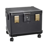 The Honeywell legal size waterproof 1 hour fire file chest (1.1 cubic feet) with a wheel cart is a UL class 350, which provides protection from fire for 1 hour up to 1700° / 927°C. Dual compression latches and safety hinges. Waterproof up to 48 hours in 39