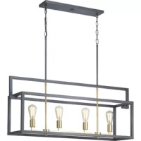 This pendant light is a fashion-forward design style. A rectangular frame celebrates geometric interplay with clean, straight lines. Finished in graphite with satin brass accents, this collection is ideal for modern and traditional interiors.