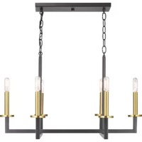 This chandelieris a fashion-forward design style. An open linear form celebrates geometric interplay with clean, straight lines. Finished in graphite with satin brass accents, this is ideal for modern and traditional interiors.