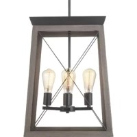 Perfect for adding a bright touch to your home with a dose of modern farmhouse style, a chandelier like this is ideal for fusing form and function. Showcasing an updated take on a classic lantern, this piece features four 60 W lights (bulbs not included) gathered a central downrod mount. The outer shade is crafted from metal with a two-tone finish and features an X-shaped wire accent across each of the four panels. Measuring 20.125'' H x 15.5'' W x 15.5'' D, this piece is a great option for...