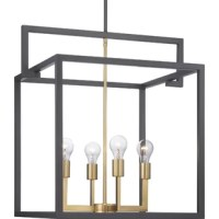This pendant is a fashion-forward design style. A rectangular frame celebrates geometric interplay with clean, straight lines. Finished in graphite with satin brass accents, this pendant is ideal for modern and traditional interiors.