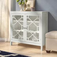 Whether you're looking for a simple storage solution in the living room or setting the stage for a low-key display in the den, this understated accent cabinet brings a bold touch to your space without stealing the show. Featuring a clean-lined wood frame and two glass-paneled doors with open geometric details, this cabinet makes a versatile and low-impact addition to your environment. Set it under a bold abstract canvas print to draw the eye to the ensemble, then arrange the top with framed...