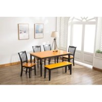 Perfect for dinner parties with friends and casual family feasts alike, this six-piece dining set brings a touch of classic character to your entertainment ensemble. Crafted from a mix of solid rubberwood and manufactured wood, this set includes one rectangular table, four chairs, and a matching bench to provide seating for six. Arched accents and slatted backs on each seat give this set a familiar feel, while a neutral finish ensures this set is versatile enough to coordinate with any color...