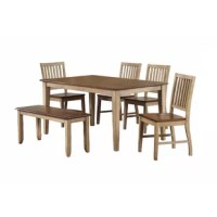 Solid handcrafted hardwood table features smooth, distressed finish; Clean cut, tapered legs; Accommodates up to 6 people.