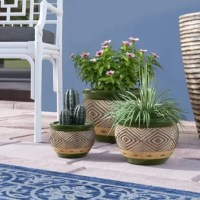 Turn any boring corner into an indoor botanical garden with this three-piece ceramic planter pot set! Crafted of ceramic, each matching planter strikes a bowl-shaped silhouette with a painted lip and base, while each planter's sides are lined with a tribal-inspired geometric motif. Including one small (4.75'' H x 6.4'' W x 6.4'' D), one medium (4.75'' H x 6.37'' W x 6.37'' D), and one large (8.5'' H x 12'' W x 12'' D) pot, this set can be clustered together or spread throughout your space for...