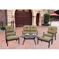 Enjoy the breeze outdoors while having the comfort of your living room. This Calhoun 6 Piece Sofa Set with Cushions. The beautifully scrolled coffee table is the perfect accent for this set. All the frames are cast aluminum in an antique bronze powder coated finish.