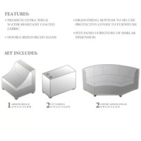 When it comes to keeping outdoor furniture safe, this set is an essential. Including covers for two curved armless sofa pieces, an armless sofa piece, and two cup tables, it keeps your furniture pieces shielded from the elements whether a summer rainstorm is rolling through or the seasons are starting to change. Designed to live outdoors, this set is crafted from polypropylene that's tough enough to stand up to all weather. Plus, bottom ties keep the covers secured. To clean, simply wash with...