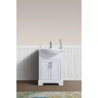 Powder room in need of a refresh? This 24'' single vanity not only updates your sink ensemble, but it helps switch up your style in the bathroom and add much-needed storage space! Especially suited for smaller bathrooms, its petite manufactured wood frame features paneled details and a charcoal gray or white finish. The glossy white ceramic top includes a sink, plus a pre-drilled hole, so you can install the faucet of your choice.
