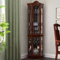 What's a handy tool for keeping your fine china secure and on display? A curio cabinet like this! Crafted from a blend of manufactured wood and solid birch, this cabinet features a wood grain finish and a glass paneled front for a traditional look. With glass shelves, a mirrored back, and included lighting, this piece is perfect for ensuring your heirloom items are always on display. And since it measures 70'' H x 21.25'' W x 15.5'' D and features a design perfect for corners, this piece is a...