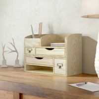 Keep your work desk in order or make room on the vanity for your makeup with this handy organizer! Its wood body features a natural look that sports grain and knotted details.