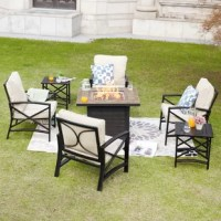Enhance your outdoor living area with this fire pit set. The powder-coated steel frame is rust resistant. Features stylish marbled tile around the border. An electronic control panel and ignition make it easy to start the fire pit. It is a comfortable and convenient product to help keep you and your guests warm outdoor.