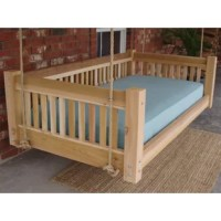 This freshly-cut, all cedar daybed swing will accommodate a variety of mattress sizes. This great bed swing is solidly built with slats and a solid frame for plenty of support, years of service and good looks. This high-quality item is very heavy, solid and sturdy. This daybed swing hangs from four points. You will need to hang this from a structure that can safely and securely support all the weight properly.
