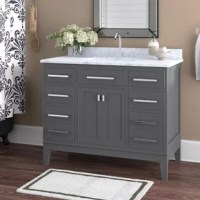 Single sink transitional style bathroom vanity. Constructed of solid hardwood to lasts a lifetime and finished in maple gray on birch veneer.