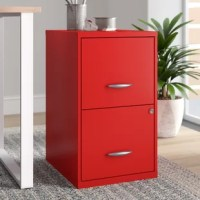 Keeping important documents filed away while helping complete the look of your cubicle or home office, filing cabinets are a must-have. Take this one for example: Crafted from metal, it strikes a clean-lined silhouette and boasts a vibrant red finish for a pop of color in your workspace. Two locking file drawers with smooth glide suspension help keep important files and hard work safely locked away, while full high-side bars provide the perfect spot to hang letter size file folders.