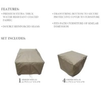 When it comes to keeping outdoor furniture safe, this set is an essential. Including covers for an armless sofa piece and four corner sofa pieces, it keeps your furniture pieces shielded from the elements whether a summer rainstorm is rolling through or the seasons are starting to change. Designed to live outdoors, this set is crafted from polypropylene that's tough enough to stand up to all weather. Plus, bottom ties keep the covers secured. To clean, simply wash with soap and water.