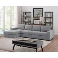 Your living room layout in understated, approachable style with this L-shaped sectional, perfectly proportioned to seat four. This piece is filled with foam, and pocket spring before it's upholstered with fabric in a versatile solid hue. Track arms help to highlight its clean-lined silhouette.