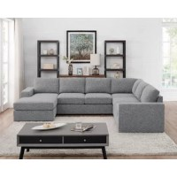 Your living room in trendy, mid-century modern design with this sectional. It can be put together into a corner sectional configuration. This is the Large U Shape sectional with chaise that could fit at least 5 adults.