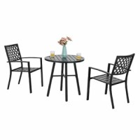 This Stines Outdoor 3 Piece Bistro Set looks simple and elegant fit most living space. Classic color will never be out of date, arm design and broad back ensure comfortable use. Unique antique cast pattern design which creates a romantic European look will enhance your outdoor living space. Perfectly match with any indoor room, yard, garden or your balcony. You will enjoy better in the natural scenery with friends and family.