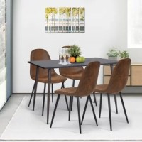 Give a touch of elegance to your dining room with this Upholstered Dining Chair! Designed in clean simple lines that allude to the Mid Century décor, this chair is versatile and perfect for any style.it has a foam-padded seat for extra comfort and sturdy metal legs with a wood-look finish. It assembles in seconds and it is lightweight and durable.