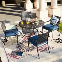 Enhance your outdoors with this 5-Piece Metal Outdoor Dining Set with Cushions. This dining set offers a seating capacity of four. It can be placed in your backyard or patio. This set offers a solid foundation of metal and smooth black finish, which creates a look that is not only trendy but functional. Whether you are entertaining guests or simply enjoying the outdoors.