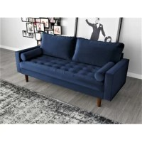 The classic design of the sofa, Mid-century modern style gives this wood frame Velvet Tufted sofa has a distinctive look that elevates your well-curated collection. It is button-tufted details that add a refined touch to any space while its streamlined silhouette and square arms fuse together to make a modern look. It features the button-tufted seat and back cushion and finished wood legs. Two bolster pillows are included.