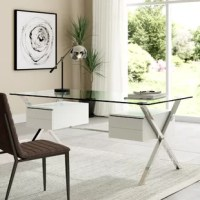 Keep your thoughts flowing with the Suspended modern office desk. Suspended by a polished stainless steel frame, the right and left storage drawers to balance an otherwise transparent piece. Outfitted with a tempered glass top, Suspended encourages you to hold onto the thoughts that matter, and free your mind from distraction.