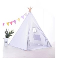 Give your little ones a place to play with this adorable Kids Play Teepee with Carrying Bag. Crafted with a wooden pole frame, this piece strikes a pyramid silhouette with polyester fabric hanging from all sides for an approachable and inviting look. A split down the front flap lets your tyke crawl inside to hide, while ties on either side allow you to leave this design open and ready for other visitors.